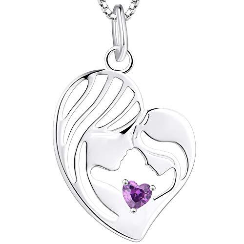 YL Madre e hija collar 925 plata esterlina amatista corazón colgante collar regalos para mamá...