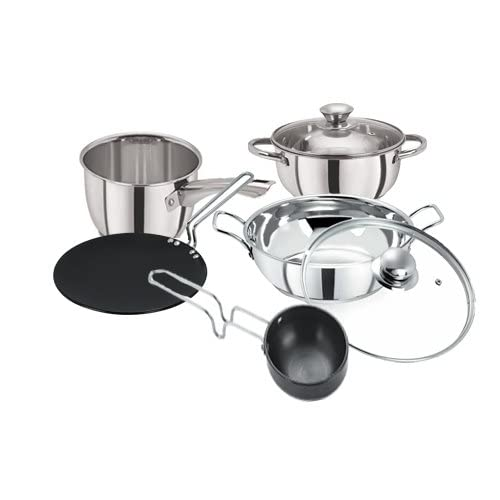 Pristine Stainless Steel Induction Base & Hard Anodised Cook & Serve Cookware Set, 7 PCS