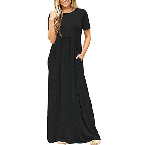 I vestiti vestito da estate delle donne maxi vestito di colore solido a maniche corte girocollo vita alta vestito da partito abito lungo (XS, Nero)