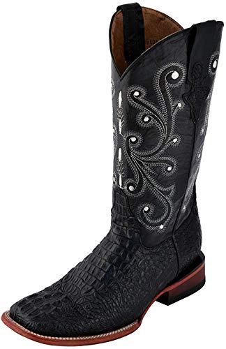 Ferrini Men's Print Crocodile S-Toe Western Boot,Black,12 D US
