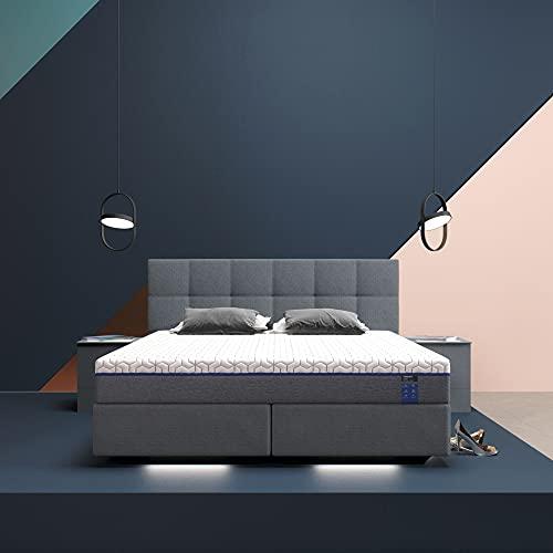 INNOCENT® P6 Air - LED   Luxus Gel Boxspringbett 160x200 - H3 in Grau Stoff N13   23cm Matratze mit integriertem Topper Gel   Pocket Tonnentaschen-Federkernmatratze   H3 Härtegrad