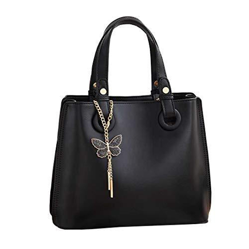 JHVYF Womens Fashion Crossbody Bag Simple Satchel Handbags Chic Shoulder Bag Square Purse Butterfly Tassel Black