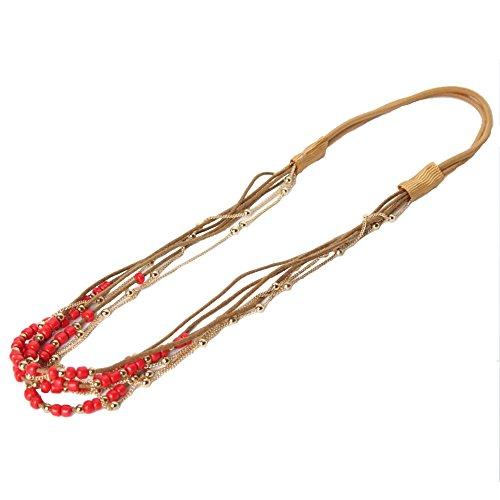 JUSTFOX Haarband Boheme mit farbigen Perlen und goldener Kette in verschiedenen Farben (Rot)