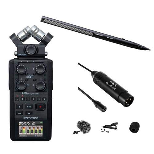 Sennheiser MKH-416 Short Shotgun Interference Tube Microphone - Bundle With Zoom H6 Handy Recorder with Interchangeable Microphone System, Black - Professional Omni-Directional Lavalier XLR Microphone