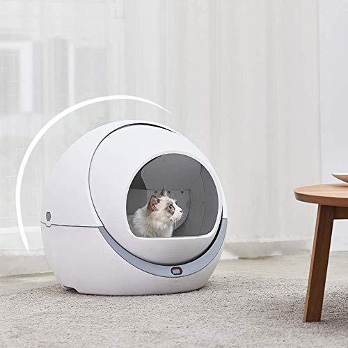 PURROMM Automatische intelligente Katzentoilette geschlossen 140 Unzen geräumiges Deodorant große Rotation PP-Harz kann gewaschen Werden Multifunktionale geräuscharme Pflegeprodukte (weiß)