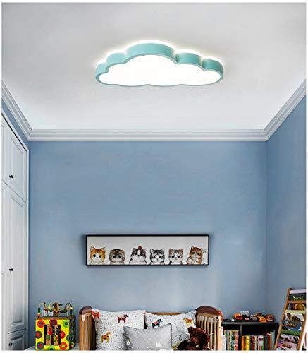 Luz de techo de nubes LED, lámpara de techo de irradiación de 360 ° dormitorio aula de guardería (Luz tricolor, Borde azul (50 * 28 cm) 48 W)