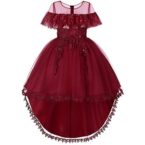 FRAUIT Vestito da Ragazza Festa in Pizzo per Bambini Abito da Sposa Principessa Vestito Davanti Corto Dietro Lungo Abiti Bambine Cerimonia Eleganti
