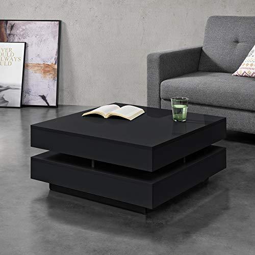 [en.casa] Mesa de Centro 75 x 75 x 35,5 cm Mesa Baja Mesa de Salón Auxiliar Mesa de café Negro Brillo