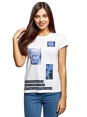 oodji Ultra Mujer Camiseta de Algodón con Estampado, Blanco, ES 40 / M