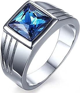 خاتم MS فاشون من الفولاذ المقاوم للصدأ مرصع بأحجار كريمة زرقاء اللون لحفل الزفاف (مقاس 9)