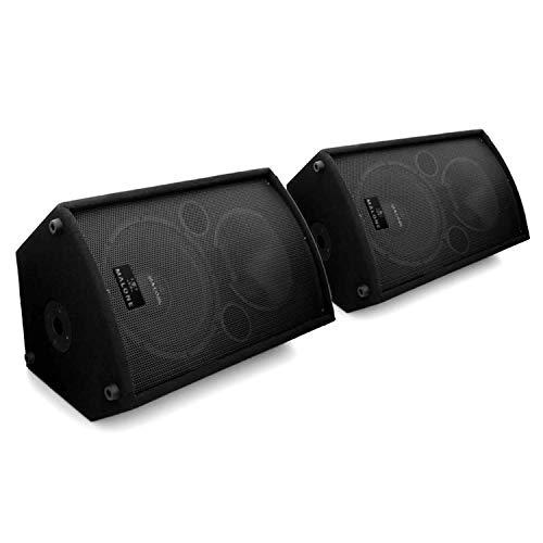 MALONE aktiv Monitor-Lautsprecher Aktivboxen Aktivlautsprecher PA-Box 1100 Watt mit 30cm (12 Zoll) Subwoofer und 4X Mic-In (5-Band EQ, Flansch)