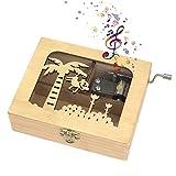 Heveer Caja de Música de Manivela de Madera Caja Musical Caja de Maquillaje Joyería Tallada a Mano del Tema Retro Mejor Regalo para Niños Niñas, Patrón de Mono