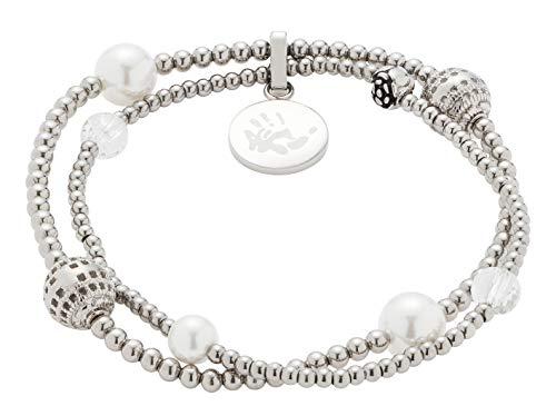 Jewels by Leonardo Damen-Armband Vaporoso, 2 elastische Armbänder aus Edelstahl mit verschiedenen Perlen, Länge 65 mm, 016814