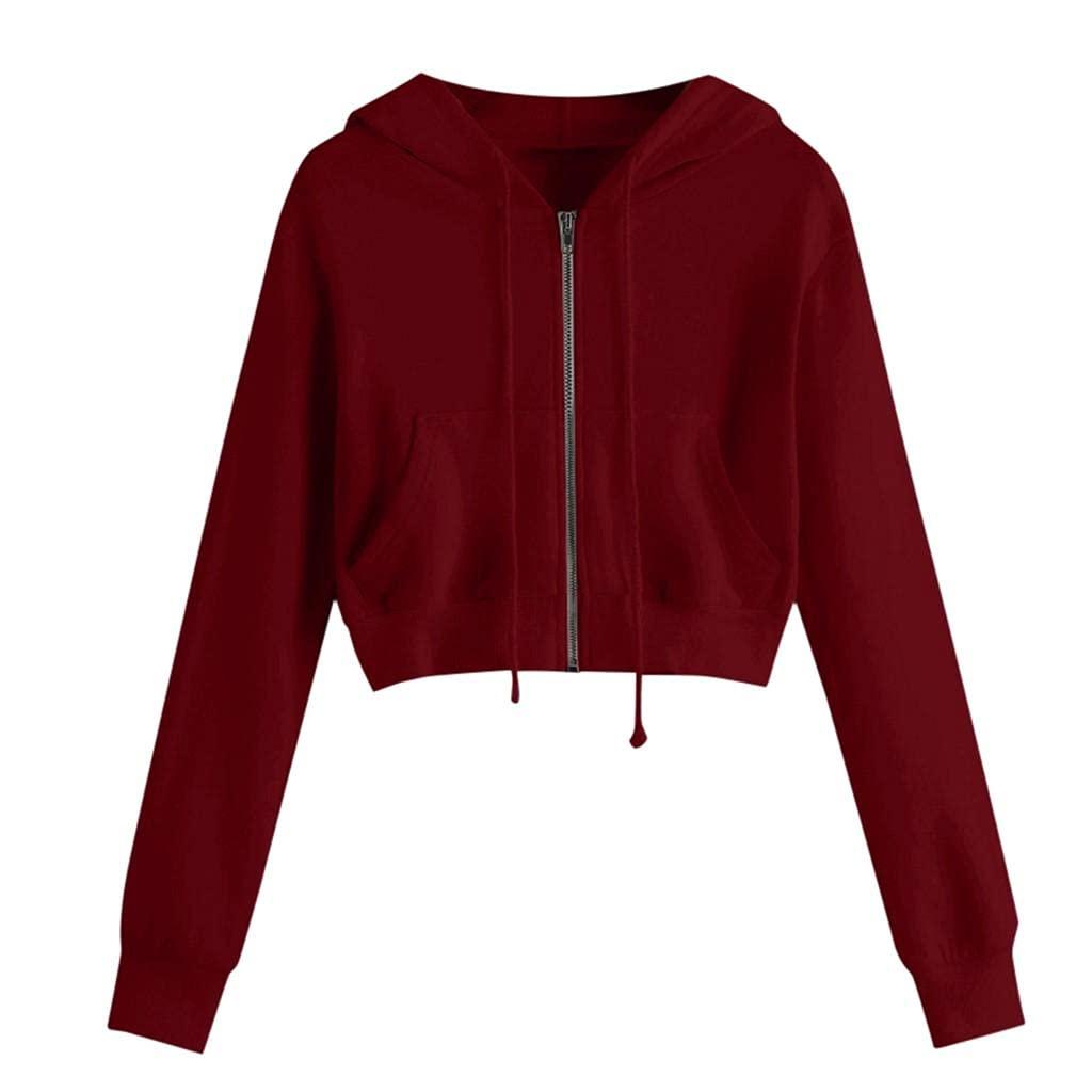 Padaleks Women Long Sleeve Hood Pullover Teen Girls Cute Crop Tops Solid Sweatshirts Casual Hoodies Blouse Shirts