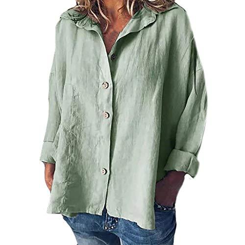 iYmitz 3/4-Arm Damen Streetwear Einfarbig Rundausschnitt Leinen Frauen Freizeit Bluse Sommer Freizeithemd(Z5-Armeegrün,EU-36/CN-S)