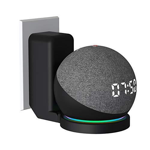 Ishine Soporte de pared para altavoz Echo Dot 4th, soporte de pared plegable dispositivo de almacenamiento de cable integrado en la parte inferior de los accesorios de ahorro de espacio