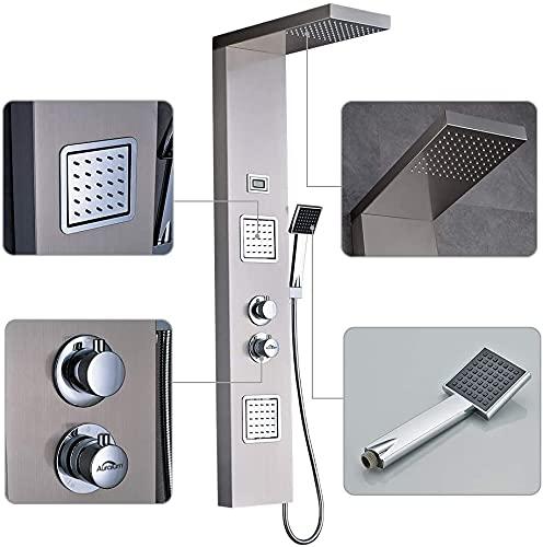 QRC Thermostat Duschpaneel Duschset aus Edelstahl, Duschsystem mit handbrause und Regendusche Duscharmatur mit LED Wassertemperaturanzeige
