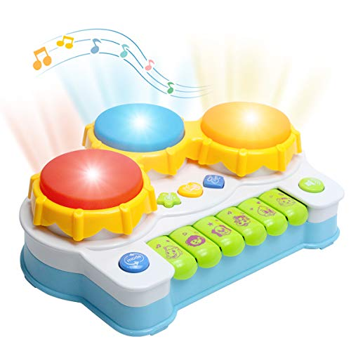 LAFALA Musical Toys Keyboard Piano Drums Colorful Educational Learning Toy for Kids Babies best gift(blue)
