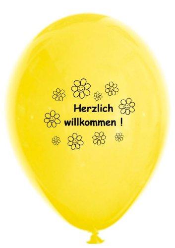 10 Luftballons Herzlich Willkommen, bunt sortierte Mischung, ca. 30 cm