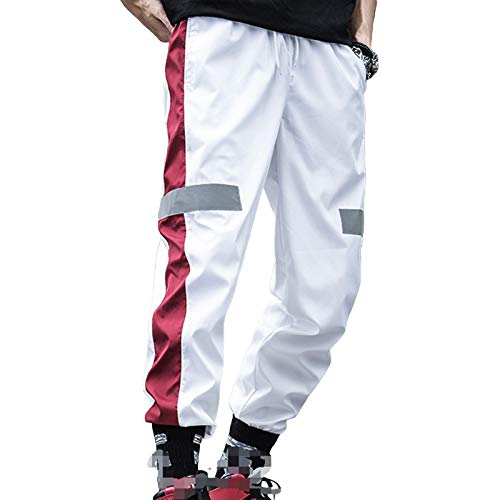 Pantalones deportivos para correr para hombre Pantalones deportivos con bolsillo con cremallera Pantalones deportivos de yoga Pantalones deportivos con cordón y bloques de color (White , X-Large )
