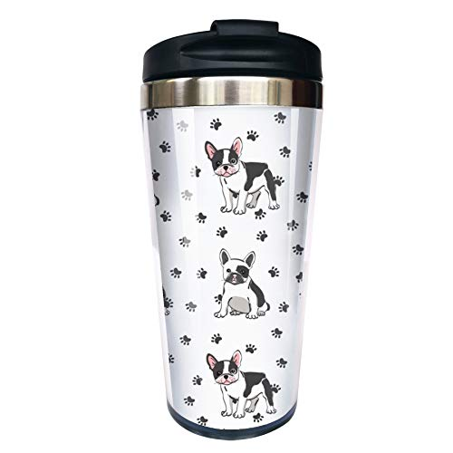 CUAJH Cute Dog French Bulldog Travel Coffee Mug, Insulated Tumbler with Lid Stainless Lined for Women Men Birthday, 14 OZ