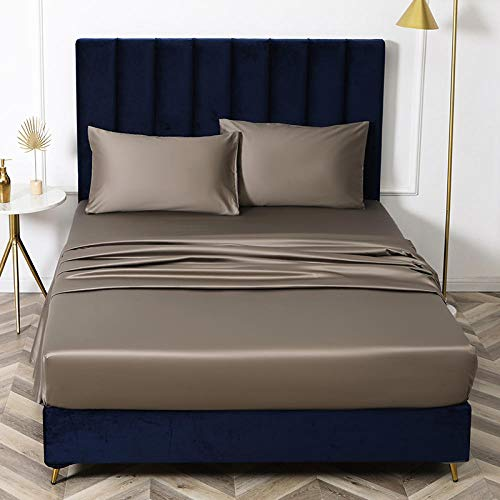N / A KING SIZE sheet,King size bed sheet single cotton silk satin sheet bed cover non-slip mattress protector for double king-dark_brown_150cmx200cm*32cm