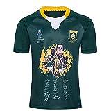 HBRE 2019 Sudáfrica Rugby Jersey,campeón Jersey de Rugby,Hombres Deportes Secado Rápido de Manga CortaEdición Firmada Camisetas de Verano,Green,5XL