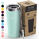 Umite Chef 22oz Tumbler Insulated Stainless Steel Travel Tumbler Mug with Lid, 2 Straws & Brush Durable Insulated Coffee Mug, Thermal Cup with Splash Proof Sliding Lid (Tiffany)