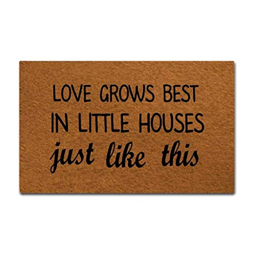 ZiQing Doormat Entrance Floor Mat Funny Doormat Love Grows Best in Little House Monogram Doormats Funny Door Mat Machine Washable Non-Slip Rug 23.6x15.7 inch
