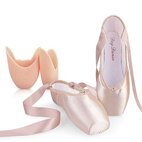 XXXZZL Chaussures de Ballet de Pointe Rose Chaussure de Danse avec Satin Rubans de et Protège-Orteils pour Ballerines Fille Femme (Prendre Une Taille au Dessus),Rose,41