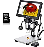 Digital 1500X Microscope 7inch 1080P LCD Screen Wintex Handheld USB Scope, Camera Video Recorder function, with Battery for outdoor, for Science Education Jewelry/Coin/Insect Observation 【16G SD Card】