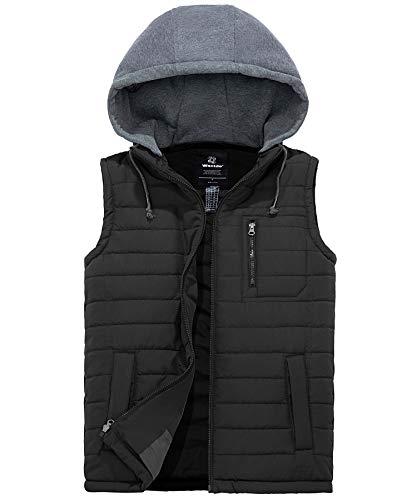 Wantdo Men's Quilted Puffer Vest Warm Sleeveless Hoodie Winter Jacket Black S