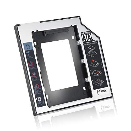 Gobutevphver Caddy de Disco Duro Universal SATA Second HDD SSD de Aluminio de 9,5 mm con 4 Tornillos para Adaptador de bahía óptica de CD/DVD-ROM - Negro