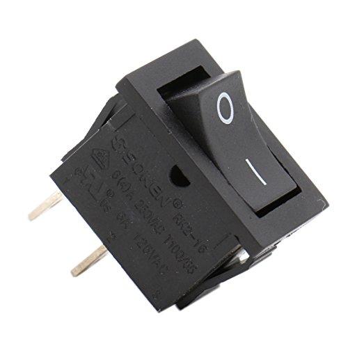 Heschen Interruptor basculante rectangular negro SPST 2 posición 2 terminales 6A 250VAC/125VAC UL VDE 5 unidades