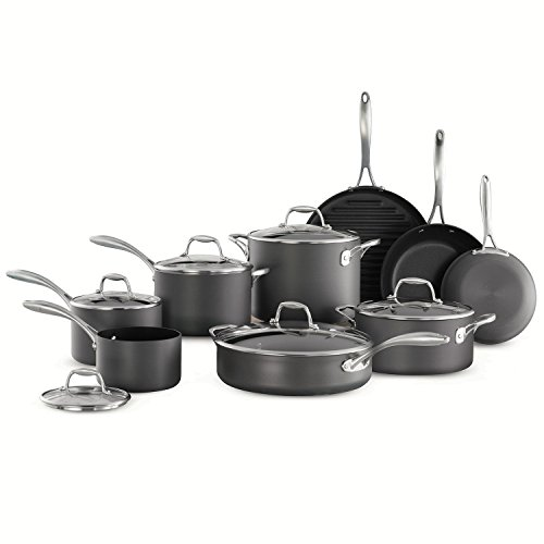 15pc Tramontina Heavy-Gauge Hard Anodized Non-Stick Cookware Set-Black