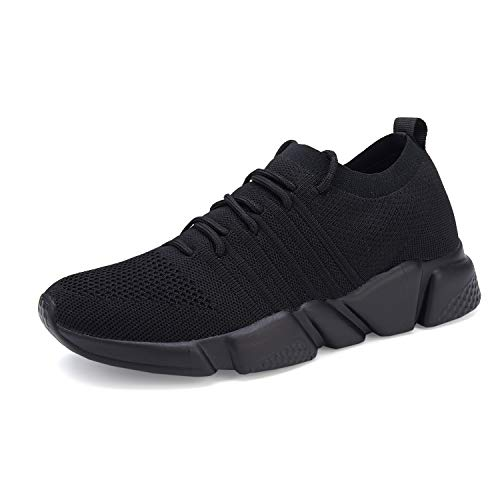 WXQ Men's Running Shoes Fashion Sneakers Mesh Breathable Casual Athletic Lightweight Walking Shoes All Black 42
