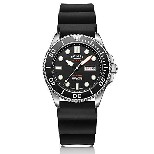 Rotary Super 7 SCUBA reloj de buceo automático negro esfera cerámica bisel correa de silicona para hombres S7S001S