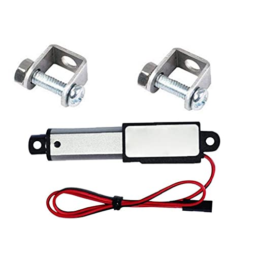 Odoukey- Actuador lineal Accionador Micro lineal Mini eléctrico Impermeable con soportes de montaje 12V 60N Longitud de carrera 50 mm Velocidad 15mm
