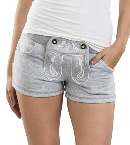 Damen WiesnFit Jogging Lederhose MADL - Jogginghose Trachten Hotpants (M, Grau)