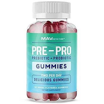 MAV Nutrition Prebiotic + Probiotic Gummies with Vitamin B9 | for Immune Support and Digestive Health | 5 Billion CFU to Support Gut Health | Gluten Free Non-GMO 60 Count