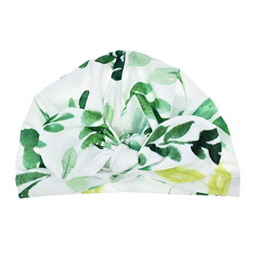 LLLucky Nouveau-né Bébé Garçon Fille Coton Chapeau De Soleil Rayures Florales Plaid Imprimé Réglable Bowknot Toddler Turban Bonnet Bonnet Élastique Head Wrap Green Leaf