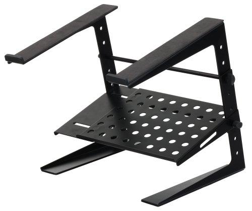 Pronomic LS-200 Deluxe Laptopständer DJ Notebookstativ Laptop Stand (Höhenverstellbar, zusätzliche Ablagefläche, ideal für DJs & Musiker, Material: Stahl) Schwarz