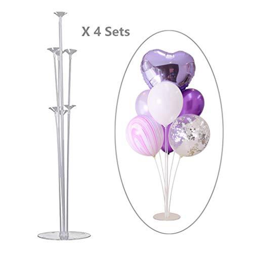 Coriver Ballonbaum, Höhe Tischballonständer Kit mit Kunststoffstab Ballonständer, Hochzeit, Geburtstag, Gartenparty und Feier des großen Ballonzubehörs (4 Sets)