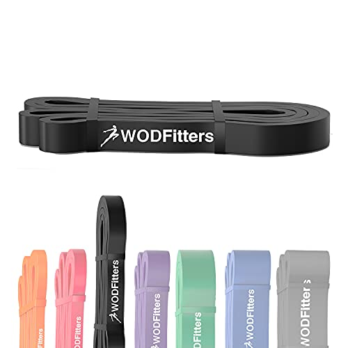 WODFitters Pull Up Assistance Band for Stretching, Mobility Workouts, Warm Up, Recovery, Powerlifting, Home Fitness and Exercise (#2 Black)