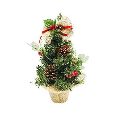 Happylohas Weihnachtsbaum, Weihnachtsbaum klein, künstlicher Weihnachtsbaum, faseroptischer Weihnachtsbaum, für zuhause/büro/Shopping bar (30 cm/11,8 Zoll) (Rote beeren)