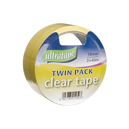 Ultratape 799.014uk 18mm x 40m di nastro adesivo trasparente (confezione da 2)