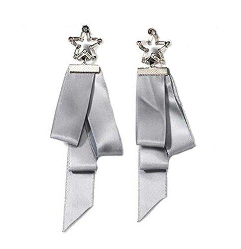 Boucles d'oreilles asymétriques en forme de ruban de style européen, gris