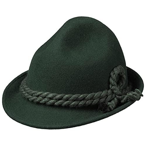 Kinder Dreispitz Wollfilzhut - Unifarbener Trachtenhut für Kinder - Sepplhut aus 100% Wollfilz - Wanderhut mit doppelter Kordel - Sommer/Winter grün 53 cm