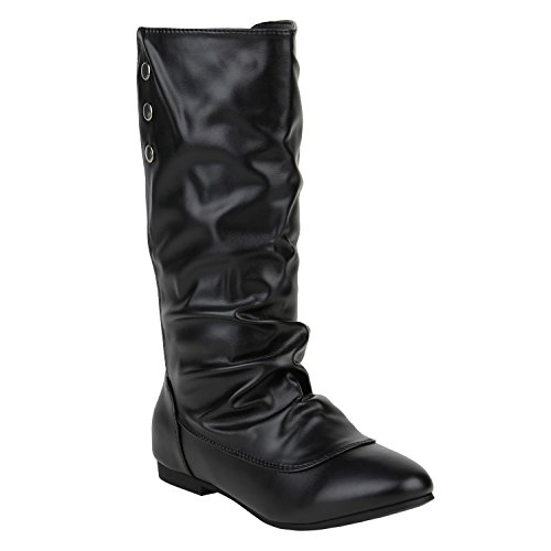 stiefelparadies Damen Schlupfstiefel Boots Schuhe 125865 Schwarz Silber 38 Flandell