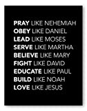 Christian Bible Heroes Wall Art - Pray Like Nehemiah Love Like Jesus - Biblical Superhero Powers - 8x10 - Unframed